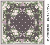scarf floral print. russian... | Shutterstock .eps vector #1075377929