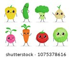 cute funny food characters set... | Shutterstock .eps vector #1075378616
