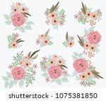 floral arrangements in small... | Shutterstock . vector #1075381850