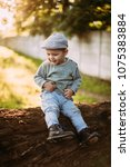 baby boy 1 2 years old... | Shutterstock . vector #1075383884