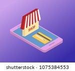 3d isometric mobile store...   Shutterstock .eps vector #1075384553