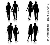 set couples man and woman... | Shutterstock .eps vector #1075387343