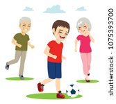 young grandchild playing soccer ... | Shutterstock .eps vector #1075393700