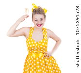 cheerful rockabilly girl in... | Shutterstock . vector #1075394528