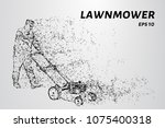 man mowing grass with a lawn... | Shutterstock .eps vector #1075400318