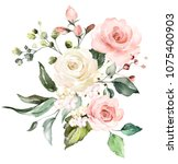 watercolor flowers. floral... | Shutterstock . vector #1075400903