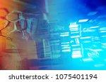 laboratory glassware and dna... | Shutterstock . vector #1075401194