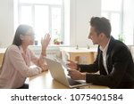 Small photo of Hr and applicant laughing during successful job interview, happy vacancy candidate talking to smiling recruiter discussing winning resume making good first impression, recruitment and hiring concept