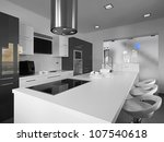 modern kitchen with gray tile