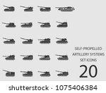 self propelled artillery... | Shutterstock .eps vector #1075406384
