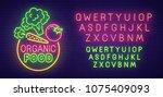 organic food  neon sign  bright ... | Shutterstock .eps vector #1075409093