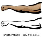 muscular arm extended fist... | Shutterstock .eps vector #1075411313