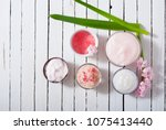 beauty and cosmetic creams with ... | Shutterstock . vector #1075413440