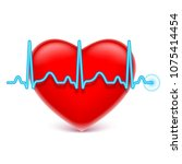 heart and blue heart rate | Shutterstock . vector #1075414454