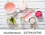 beauty products and cherry...   Shutterstock . vector #1075414700