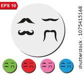 set of hipster mustache flat... | Shutterstock .eps vector #1075415168