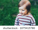 little toddler beautiful girl... | Shutterstock . vector #1075415780