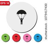 parachutist flat round colorful ... | Shutterstock .eps vector #1075417430