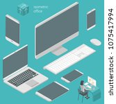 isometric busines office flat... | Shutterstock .eps vector #1075417994