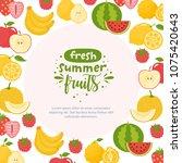 fresh summer fruits. frame with ... | Shutterstock .eps vector #1075420643