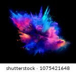 explosion of pink and blue... | Shutterstock . vector #1075421648