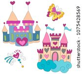 two castles for princess on... | Shutterstock .eps vector #1075428569