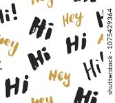 hi and hey lettering sign... | Shutterstock .eps vector #1075429364