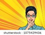 woman silence gesture. pop art... | Shutterstock .eps vector #1075429436