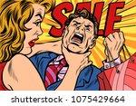 wife strangles husband ... | Shutterstock .eps vector #1075429664