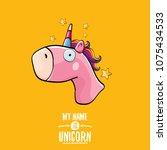 vector funny cartoon cute pink... | Shutterstock .eps vector #1075434533