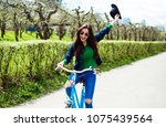 cheerful modern hipster... | Shutterstock . vector #1075439564