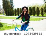 cheerful modern hipster... | Shutterstock . vector #1075439588