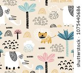 safari animals seamless pattern ... | Shutterstock .eps vector #1075440686