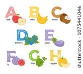 fruits and vegetables alphabet. ... | Shutterstock .eps vector #1075441046