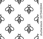 seamless bee black icons... | Shutterstock .eps vector #1075443044