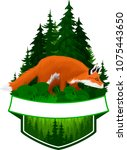 vector woodland emblem with red ... | Shutterstock .eps vector #1075443650