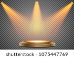 round podium  first place.... | Shutterstock .eps vector #1075447769