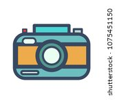 Photo camera. Retro camera, polaroid, printable image, flash and shutter speed, film, camera roll, timer. Modern vector image in style flat line design. Photo camera concept. Can be used as logo
