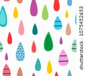 repeated colored raindrops.... | Shutterstock .eps vector #1075452653
