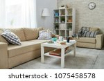 spacious living room with...   Shutterstock . vector #1075458578