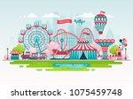 amusement park  urban landscape ... | Shutterstock .eps vector #1075459748