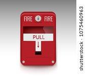 fire alarm system. pull danger... | Shutterstock .eps vector #1075460963