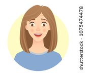 emotions of woman face. facial... | Shutterstock .eps vector #1075474478