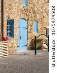 vintage wooden blue double door ... | Shutterstock . vector #1075474508