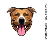 staffordshire terrier dog head. ... | Shutterstock .eps vector #1075485293