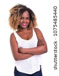 beautiful young african woman... | Shutterstock . vector #1075485440