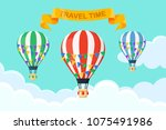set of hot air balloon in the... | Shutterstock .eps vector #1075491986