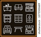 set of 9 furniture outline... | Shutterstock .eps vector #1075500689