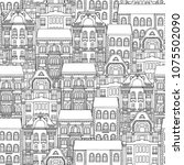 hand drawn seamless pattern of... | Shutterstock .eps vector #1075502090