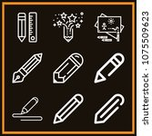 set of 9 pencil outline icons... | Shutterstock .eps vector #1075509623